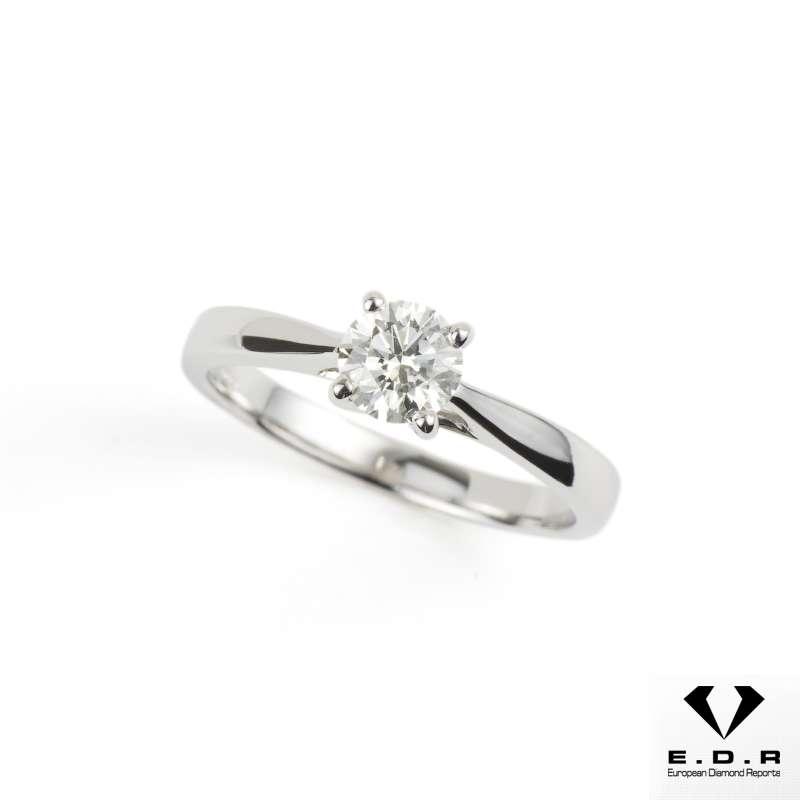 18k White Gold Solitaire Diamond Ring 0.53ct I/VVS2